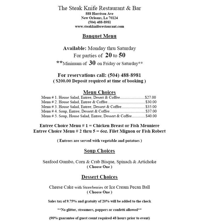 Steak Knife Restaurant New Orleans